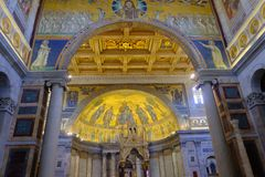 Papal Basilica of St. Paul outside the Walls in Rome. Rome, Italy - August 12, 2017: Interior of the Papal Basilica of St. Paul outside the Walls, one of Rome`s royalty free stock images