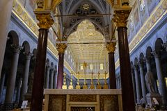 Papal Basilica of St. Paul outside the Walls in Rome. Rome, Italy - August 12, 2017: Interior of the Papal Basilica of St. Paul outside the Walls, one of Rome`s stock photography