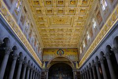 Papal Basilica of St. Paul outside the Walls in Rome. Rome, Italy - August 12, 2017: Interior of the Papal Basilica of St. Paul outside the Walls, one of Rome`s royalty free stock photography