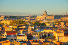 The Papal Basilica of St. Peter. Aerial view of Rome with the Papal Basilica of St. Peter stock image