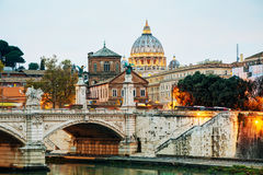 The Papal Basilica of St. Peter in the Vatican city. At night stock image