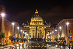 The Papal Basilica of St. Peter in the Vatican city. At night royalty free stock image