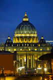 The Papal Basilica of St. Peter in the Vatican city. At night royalty free stock images