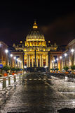 The Papal Basilica of St. Peter in the Vatican city. At night stock photos