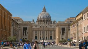 Italy in Hyperlapse, road to the Vatican full of tourists, Saint Peter`s Basilica, Vatican City. The Papal Basilica of St. Peter in the Vatican, is an Italian stock video footage