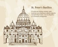 The Papal Basilica of St. Peter in the Vatican, Italy, hand drawn illustration with placeholder text. Beige vintage background vector illustration