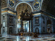 Papal Basilica of St. Peter in Vatican, Rome, Italy. VATICAN CITY - JANUARY 28 2015: The Papal Basilica of St. Peter in the Vatican, or simply St. Peters royalty free stock photo