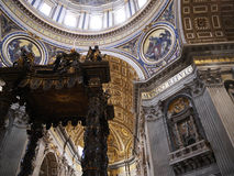 The Papal Basilica of St. Peter in the Vatican or simply St. Peter`s Basilica is an Italian Renaissance church in Vatican City. Designed principally by Donato Stock Image