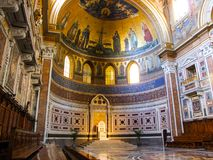 Papal Cathedra in the Archbasilica of St. John Lateran in Rome. Papal Cathedra in the Cathedral of the Most Holy Savior and of Saints John the Baptist and the stock image