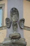 Papal coats of arms. View of the ancient papal coats of arms in the main square of Viterbo stock image