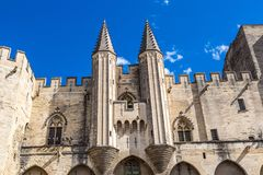 Papal palace in Avignon. In a beautiful summer day, France stock photo