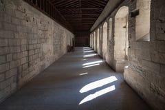 Papal Palace Avignon France. A corridor with arches in the Palais des Papes. Avignon, Provence, France stock photos