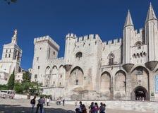 Papal Palace Avignon France. The facade of the Palais des Papes. Avignon, Provence, France stock photo
