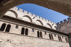 Papal Palace Avignon France. The inner square of the Palais des Papes. Avignon, Provence, France stock photography