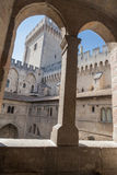 Papal Palace Avignon France. The inner square of the Palais des Papes. Avignon, Provence, France stock photo
