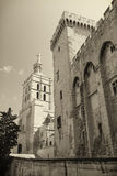 Papal palace in Avignon France. Monochromatic photo of the Papal palace in Avignon France. Edited as a vintage photo royalty free stock image