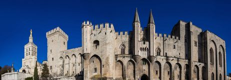 The Papal palace at Avignon France. The Papal Palace one of the biggest gothic buildings in Europe at Avignon France stock image