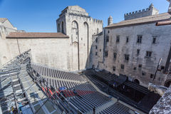 Papal Palace Avignon France Theater. The theater audience in the inner garden of the Palais des Papes. Avignon, Provence, France stock photos