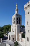 Papal Palace Avignon France. The tower with a golden statue at the Palais des Papes. Avignon, Provence, France royalty free stock images