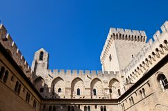 Papal Palace (circa 1370). Avignon, France. View of Papal Palace (Palais des papes d'Avignon, circa 1370) from inner yard. UNESCO World Heritage Site. Avignon royalty free stock photos