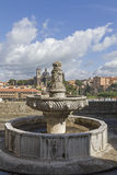 Papal Palace in Viterbo. The fountain in the loggia of the Papal Palace in Viterbo stock photo