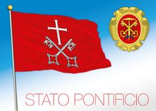 Papal state historical flag and crest, Vatican City. Papal state historical flag, Vatican and Rome, Italy, vector illustration royalty free illustration