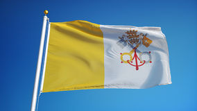 Papal States flag in slow motion seamlessly looped with alpha. Papal States flag waving in slow motion against clean blue sky, seamlessly looped, close up stock footage