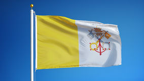 Papal States flag in slow motion seamlessly looped with alpha. Papal States flag waving in slow motion against clean blue sky, seamlessly looped, close up stock video