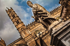 Papal statue of the Cathedral of Palermo Royalty Free Stock Photo