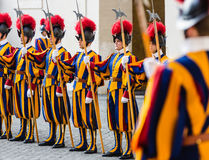 Papal Swiss Guard in uniform. VATICAN CITY, VATICAN - Nov 20, 2015: Papal Swiss Guard in uniform. Currently, the name Swiss Guard generally refers to the royalty free stock images