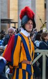 Papal Swiss Guard in uniform. Vatican - Oct 14, 2018. Papal Swiss Guard in uniform at Saint Peter Square. Swiss soldiers are a symbol of attraction in Vatican stock photo
