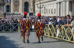 Papal Swiss Guard in uniform. Vatican - Oct 14, 2018. Papal Swiss Guard in uniform at Saint Peter Square. Swiss soldiers are a symbol of attraction in Vatican royalty free stock photo