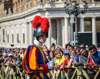 Papal Swiss Guard in uniform. Vatican - Oct 14, 2018. Papal Swiss Guard in uniform at Saint Peter Square. Swiss soldiers are a symbol of attraction in Vatican royalty free stock image