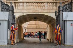 Papal Swiss Guard in uniform. Vatican - Oct 16, 2018. Papal Swiss Guard in uniform at St. Peter Basilica. The Guards is among the oldest military units in royalty free stock photography