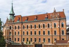 The Papal Theological Academy. Old historic building in Krakow. The Papal Theological Academy name John Paul the second .View from Wawel Hill and the street stock photo