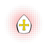 Papal tiara, hat with cross icon, comics style Royalty Free Stock Photo