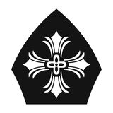Papal tiara, hat with cross icon, simple style. Papal tiara, hat with cross icon in simple style on white vector illustration