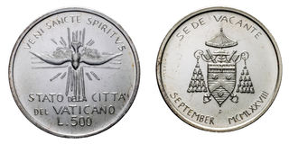 Papal Vacant see 1978 september silver coin uncircoled. Isolated on white, front with Veni sancte spiritus stock photography