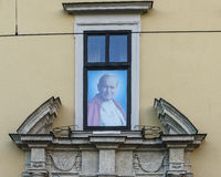 Papal window in Krakow royalty free stock image