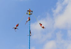 Papantla flying men IV Royalty Free Stock Photo