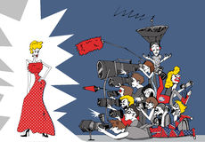 Paparazzi. Bunch of paparazzi ans star in the red dress Royalty Free Illustration