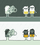 Paparazzi colored cartoon. Hand drawn characters Royalty Free Stock Images