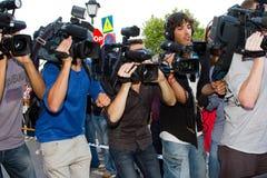 Paparazzi com câmara de vídeo Fotografia de Stock