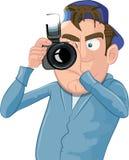Paparazzi de dessin animé avec un appareil-photo Images libres de droits