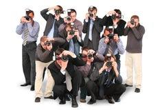 Paparazzi dubbele groep twaalf van fotografen Royalty-vrije Stock Fotografie