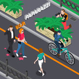 Paparazzi Isometric Illustration. Paparazzi doing photo of celebrities during walking from bushes at street in summer isometric vector illustration Stock Images
