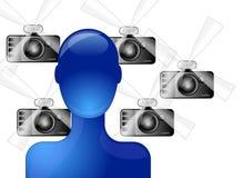 Paparazzi making photos of celebrity. Paparazzi making photos of blue celebrity Stock Photos