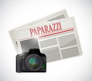 Paparazzi newspaper and camera concept Royalty Free Stock Photo