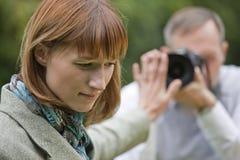 Paparazzi no trabalho Imagem de Stock