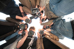 Paparazzi on object. Group of paparazzi on object Stock Photography